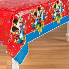 """Disney Mickey Fun and Friends Plastic Tablecover Party Accessory by Hallmark. $4.53. Material: Plastic. Made in China. Hallmark Party. Includes: One Disney Mickey Fun and Friends Plastic Table Cover. Dimensions: Approximately 54"""" x 102"""" (137cm x 259cm). Includes (1) plastic tablecover. This is an officially licensed Disney product.. Save 30% Off!"""