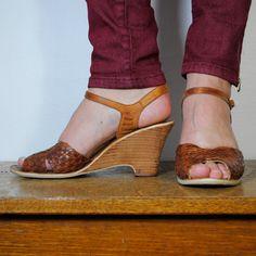 d9f824a63fee6b vintage shoes   leather huarache sandals wedges by maisondhibou