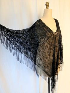 Crocheted Black Lace FRINGED Boho GYPSY Shawl by HousewifeVintage, $39.00