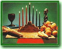 The Kwanzaa candles and harvest - the symbols of Kwanzaa