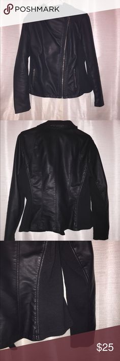 Black Faux Leather Jacket (Moto Style) Brand new condition, no sign of wear on this jacket at all. Can be dressed up or down. Excellent for Fall and Spring! Mossimo Supply Co. Jackets & Coats