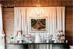 dessert table with chandelier @weddingchicks