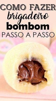 Brigadeiro bombom ninho com nutella – Receita - Gourmet Recipes, Sweet Recipes, Dessert Recipes, Mini Desserts, No Bake Desserts, Edible Cake Decorations, No Bake Cake, Love Food, Food And Drink
