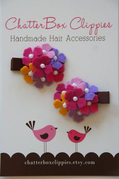 Items similar to Hydrangea Hair Clips in Pink and Purple for Baby Toddler and Girls Baby Hair Clips on Etsy - ribbons, bows and flower crafts Felt Hair Clips, Baby Hair Clips, Baby Hair Bows, Flower Hair Clips, Baby Headbands, Ribbon Crafts, Flower Crafts, Felt Crafts, Felt Flowers