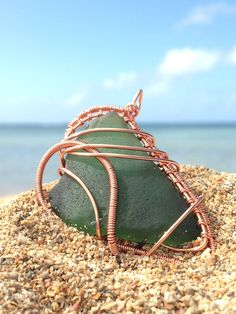 Beach Glass Jewelry, Wire Wrap Sea Glass Pendant, Olive Green, Copper, Handmade in Kauai Hawaii, Beach Love by BeachBaubles1 on Etsy https://www.etsy.com/listing/249705661/beach-glass-jewelry-wire-wrap-sea-glass