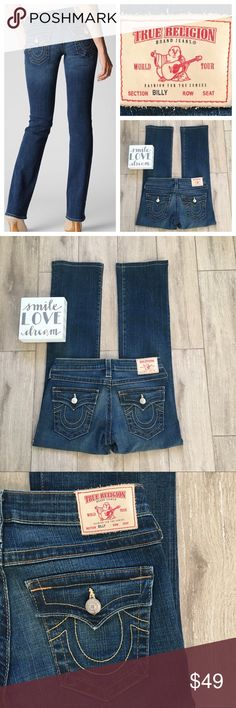 """True Religion Billy  28x29.5 Bootcut Jeans These are the ever popular Billy bootcut from TR.  Apart from altering the hem at a professional tailor, these are in new condition. Never worn.  100% Authentic. They won't last at this price!!  No trades, please.   Approx measures/ taken flat: Waist:  Rise: 8"""" Inseam: 29.5"""" Petite length on most.  Materials: 98/2 Cotton, Spandex True Religion Jeans Boot Cut"""