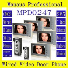 421.78$  Watch now - http://ali5aw.worldwells.pw/go.php?t=32599597522 - Best Style Magnetic Lock Two to Five Video Doorphones Device 7 inch Screen Display Outdoor Video Door Intercom System D247b