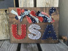 Ready to ship USA America flag string art wood sign Fourth of July summer… July Crafts, New Crafts, Summer Crafts, Holiday Crafts, Crafts To Sell, Arts And Crafts, Nail String Art, String Crafts, Nail Art
