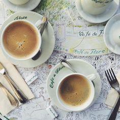 coffee at Cafe de Flores. Bonjour Paris