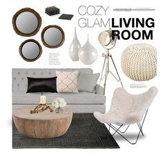 """""""Cozy Glam Living Room"""" by emmy ❤ liked on Polyvore featuring interior, interiors, interior design, home, home decor, interior decorating, ESPRIT, Ethan Allen, HAUS and Surya"""
