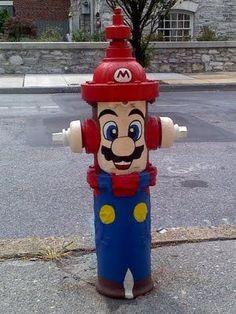 Mario  in the fire hydrants in my neighborhood