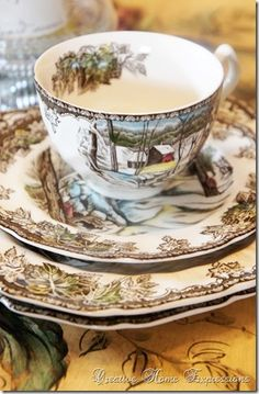 Introduced in the Johnson Bros. Friendly Village pattern lends a classic, cozy feel to any winter table. Johnson Brothers China, Johnson Bros, Christmas China, Christmas Dishes, Vintage Dishes, Vintage China, Vintage Tea, Vintage Kitchen, Friendly Village Dishes