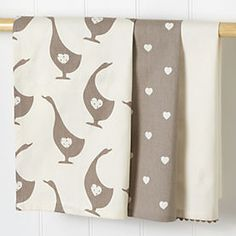 Sainsbury's Neutral Country Duck Tea Towels 3-pack