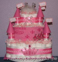 Princess castle diaper cake.