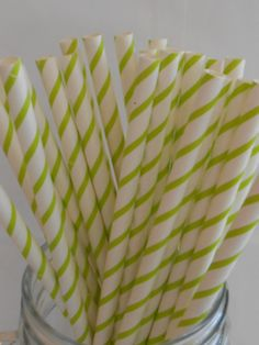 Green and White Striped Paper Straws / Paper by partysupplyshack, $4.00