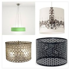 Yes, I'm sensing a drum-shade obsession here...Thinking of home store materials to repurpose on a DIY version.