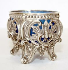 Antique French Silver And Blue Opaline Pierced Open Master Salt Cellar     c.19th Century