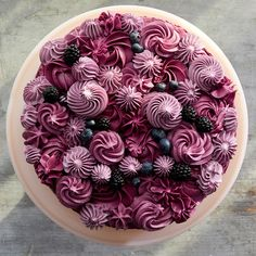 A blueberry-studded triple-decker cake is decorated with swirls and rosettes of frosting flavored with black raspberry j Blueberry Cake, Fruit Tart, Mousse Cake, Let Them Eat Cake, Cake Designs, Cupcake Cakes, Cake Recipes, Cake Decorating, Sweet Treats