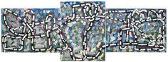 Jean Paul Riopelle, Guy bleue Viau, 1971, acrylique sur toile, 160 x 440 cm, triptyque