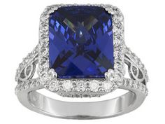 Charles Winston For Bella Luce (R) Tanzanite Color 11.94ctw Rhodium Plated Sterling Silver Ring