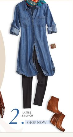 I have a similar denim dress from The Gap - worn with leggings and boots - changes the whole look. love it! #chicossweeps #chicossweeps