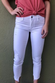 """Articles of Society """"Suzy Step Hem Skinny"""" - Turin/ White from Chocolate Shoe Boutique Articles Of Society Jeans, Shoe Boutique, Denim Skinny Jeans, Turin, White Denim, Suzy, Destruction, Chocolate, Products"""