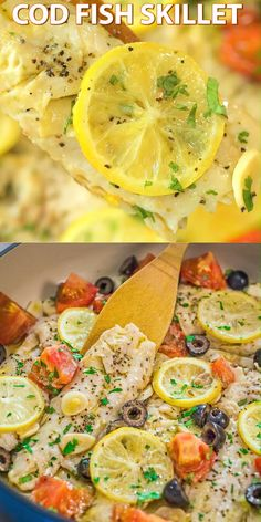 health meals This incredibly delicious and healthy Cod Fish Skillet is going to become your favorite dinner! Create a taste of the Mediterranean with this simple, yet elegant, meal. Cooktoria for more deliciousness! Fish Recipes, Seafood Recipes, Keto Recipes, Vegetarian Recipes, Dinner Recipes, Cooking Recipes, Dinner Ideas, Fish Dishes, Seafood Dishes