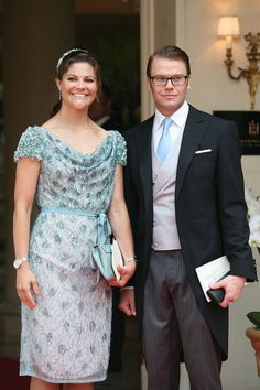 H.R.H. Crown Princess Victoria of Sweden and Prince Daniel, Duke of Vastergotland leave the 'Hermitage' hotel to attend the religious ceremony of the Royal Wedding of Prince Albert II of Monaco to Charlene Wittstock in the main courtyard on July 2, 2011 in Monaco, Monaco.