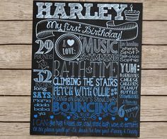 Blue Ombre First Birthday Chalkboard Poster by CustomChalkPosters