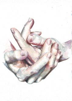 Watercolor #art: expressive #hands, by Helga McLeod