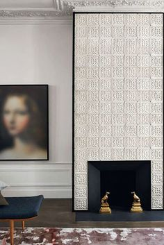 Tiled fireplace wall - STUDIO KO: Some Pitch Perfect Moments in Design from Paris Fireplace Wall, Fireplace Design, Modern Fireplace, Fireplace Facade, Classic Fireplace, Interior Architecture, Interior And Exterior, Modern Exterior, Turbulence Deco