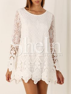 White+Long+Sleeve+Crochet+Lace+Dress+13.99