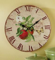 Vintage Country Red Apple Clock Wall Decor Old Fashion Kitchen Art Apple Kitchen Decor, Kitchen Decor Themes, Kitchen Art, Home Decor, Red Kitchen, Kitchen Stuff, Country Kitchen, Country Living, Kitchen Ideas