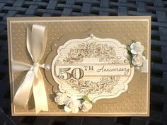 This was a card for my Inlaw's 50th Wedding Anniversary.  They are very dear to me and I wanted their card to be simple and pretty. My inspiration is from a card by Stamping Bear.  The card is 5x7.  Everything was embossed and all layers were raised up.  Thanks for looking!