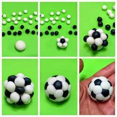 Nell'immagine illustrativa vi sono le varie fasi per realizzare un pallone da calcio per le vostre creazioni in pasta di zucchero per il Cake Design.