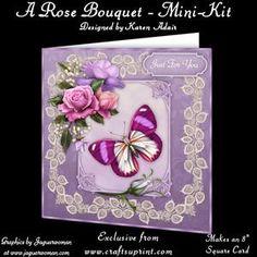 "A Rose Bouquet 8"" Square Card Mini-kit"