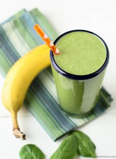Spinach Banana Protein Smoothie     Ingredients:        1 tablespoon almond butter      ⅔ cup greek yogurt      ½ banana      ¾ cup water      1 scoop vanilla protein powder      1 huge handful spinach    Instructions:      Add all ingredients to blender and puree to desired consistency.