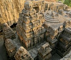 Ellora Caves, India    Dug along more than a mile of basalt cliff between A.D. 600 and 1000, these 34 temples and monasteries honor Buddha, Hindu gods, and the complete nonviolence of Jainism. Rather than actual caves, many are carved-out rock buildings filled with thousands of intricate reliefs and sculptures.