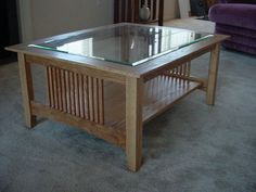 Arts & Crafts/Mission Style coffee table in solid oak.  By Rande Hackmann/Architectural Elements
