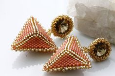 Unique Pyramid Earrings / Hand Beaded by KalitheoCreations on Etsy #Gift #Trending