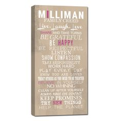 Family motto or creed on canvas.. .get the whole family involved on this canvas keepsake. Geezees.com