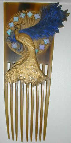 Rene Lalique - Peacock Hair Comb. Gilded Carved Tortoiseshell, Opals and Enamel. Circa 1897.
