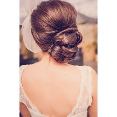 20 Low Updo Hair Styles for Brides ❤ liked on Polyvore featuring beauty products, haircare, hair styling tools and hair