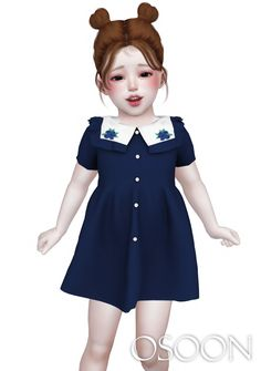 Osoon — [Osoon] CornPang Dress 16 Swatches New Mesh Custom. Sims 4 Toddler Clothes, Sims 4 Cc Kids Clothing, Sims 4 Mods Clothes, Sims Mods, Kids Clothes Boys, Toddler Girl Style, Toddler Girl Outfits, Toddler Dress, Kids Outfits