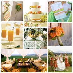 I will have a peach & green wedding color scheme :) Georgia peaches represent.