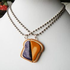 Matching Peanut Butter and Jelly Slice Necklaces kawaii best friend bff friendship