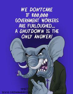 Government Shutdown Cartoon Republican Elephant Homeless Veterans, Government Shutdown, Republican Party, Democratic Party, Political Cartoons, Daily Cartoons, Elephant, Politics, Deserve Better