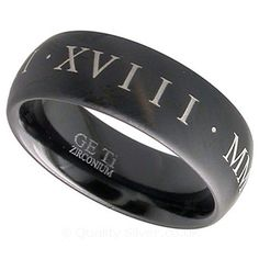Geti Black Zirconium Roman Numeral Ring Geti Titanium Rings available from http://www.qualitysilver.co.uk/Jewellery/Geti-Rings.html