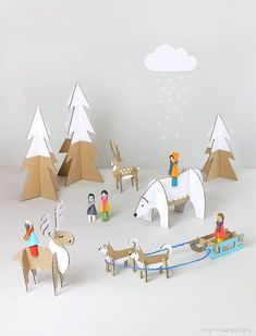Winter adventure cardboard craft , DIY toy templates | Mr Printables