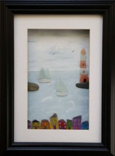 Sea Glass cottages lighthouse and yachts sea by CornishPebbleArt